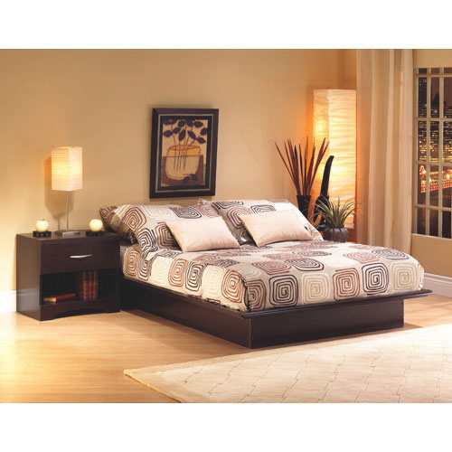 Step One Contemporary Bed Frame   Queen   Chocolate Brown   Online Only