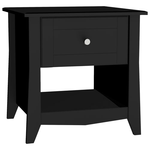 Tuxedo Modern Square End Table With Storage Drawer Black End