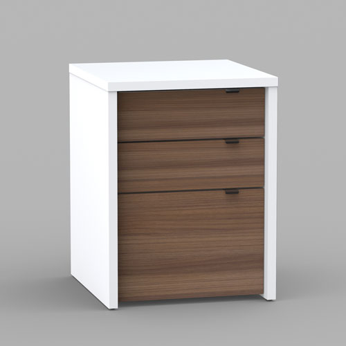 Nexera Liber T 3 Drawer Unit White And Satin Texture Walnut