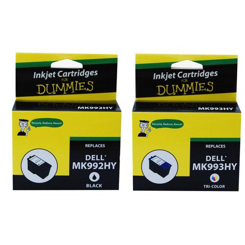 Ink For Dummies Dell MK992HY/MK993HY Black/Tri-Colour Ink (DD-MK992HY/MK993HY) - 2 Pack