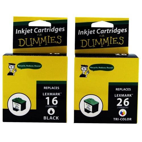 Cartouches d'encre noire/couleur Lexmark 16 CMYK d'Ink For Dummies (DL-16/26) - Paquet de 2