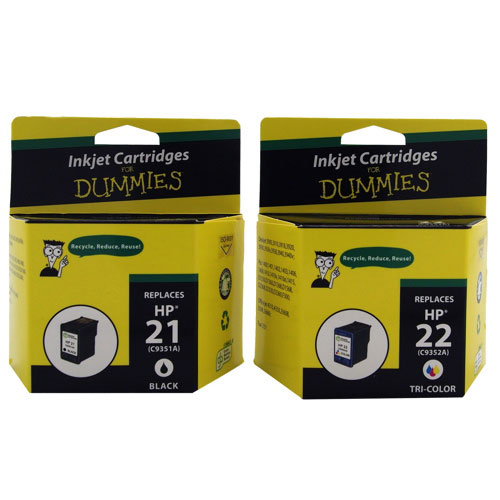 Ink For Dummies HP 21/22 Black/Tri-Colour Ink (DH-21/22 (2PK)) - 2 Pack
