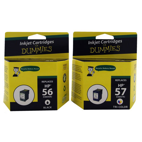 Ink For Dummies HP 56/57 Black/Tri-Colour Ink (DH-56/57 (2PK)) - 2 Pack