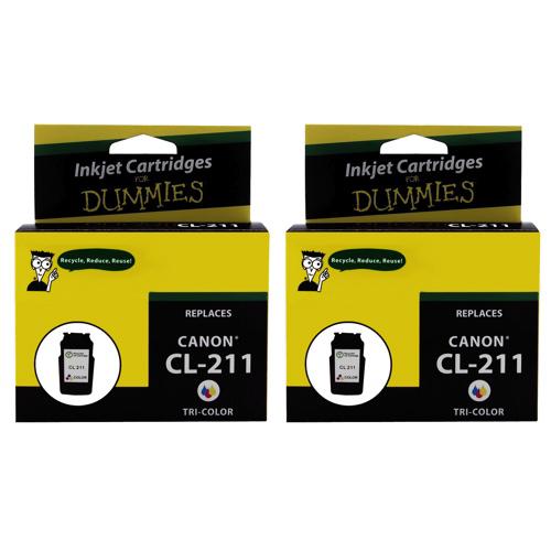 Cartouche d'encre tricolore d'Ink For Dummies pour imprimantes Canon (DC-CL211 (2PK)) - Paquet de 2