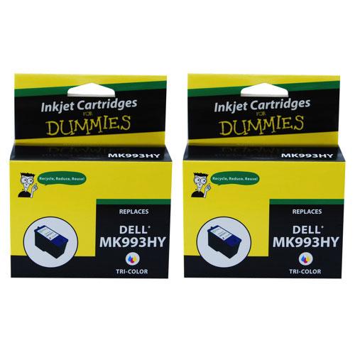 Cartouche d'encre tricolore pour MK993HY de Dell d'Ink For Dummies (DD-MK993HY (2PK)) - Paquet de 2