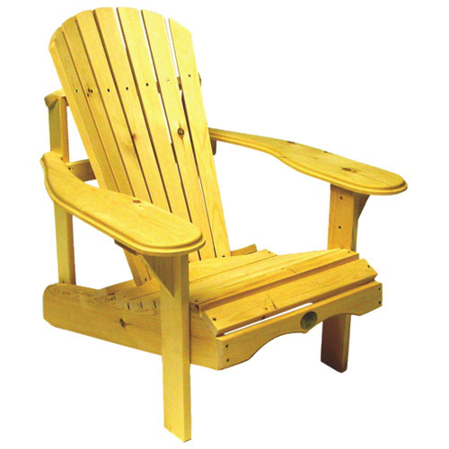 Traditional patio adirondack chair white pine yellow for Chaise adirondack canadian tire