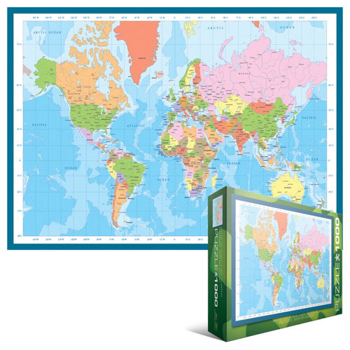 Map Of Canada Puzzle.Eurographics Modern Map Of The World Jigsaw Puzzle 1000 Pieces