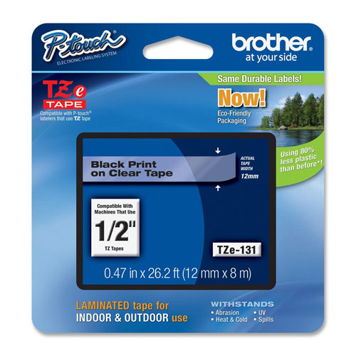 "Brother 1/2"" Black on Clear Label Tape (TZE131)"