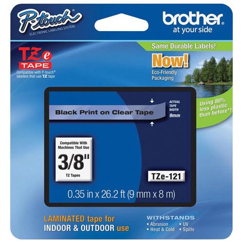 Ruban d'étiquettes noir sur transparent de 3/8 po de Brother (TZE121)