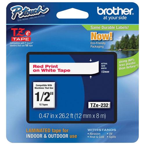 Ruban d'étiquettes rouge sur blanc de 1/2 po de Brother (TZE232)