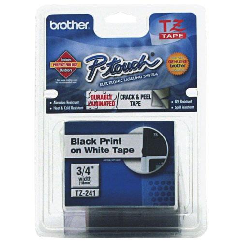 Ruban d'étiquettes noir sur blanc de 3/4 po de Brother (TZE241)