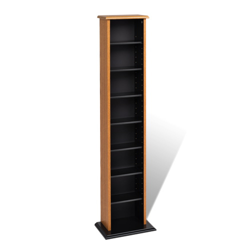 8 Shelf Media Storage Shelf   Oak Brown/Black