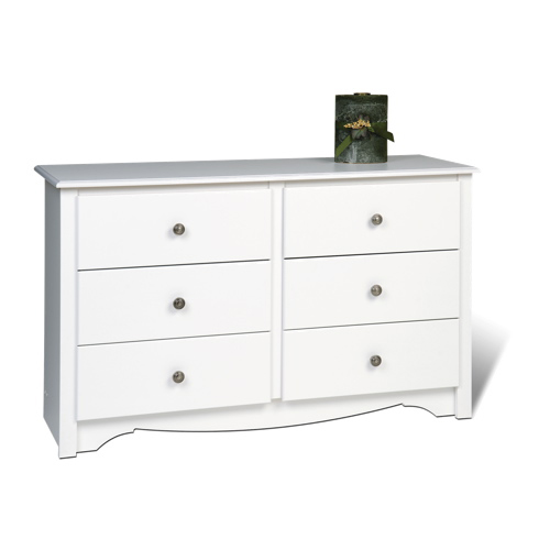 Monterey Contemporary 6 Drawer Dresser   White