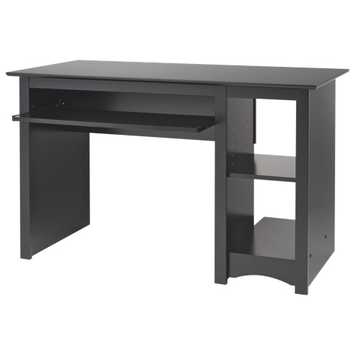 Contemporary 2 shelf computer desk black desks for Table ordinateur