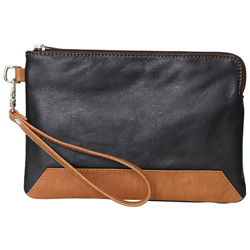 Ashlin Kayleigh Leather Wristlet Pouch - Black/Brown