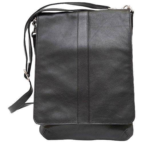 Ashlin Evan Leather Messenger Bag - Black