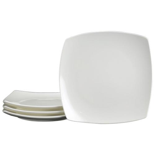 """Tannex White Tie 7.75"""" Casablanca Salad Plate - Set of 4 - White"""