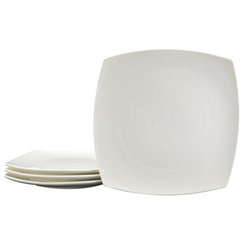 """Tannex White Tie 10.5"""" Casablanca Dinner Plate - Set of 4 - White"""