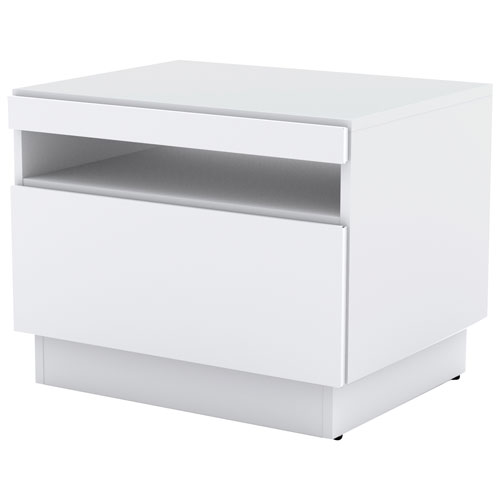 Traffic Modern End Table With Storage Drawer   White