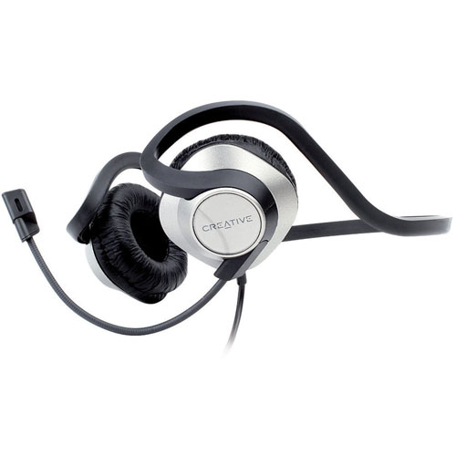 Creative ChatMax On-Ear Headset with Built-In Microphone (51EF0400AA001) - Black/Silver