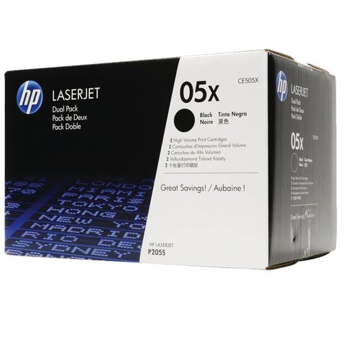 Cartouche de poudre d'encre noire 05X pour LaserJet de HP (CE505XD) - Paquet de 2