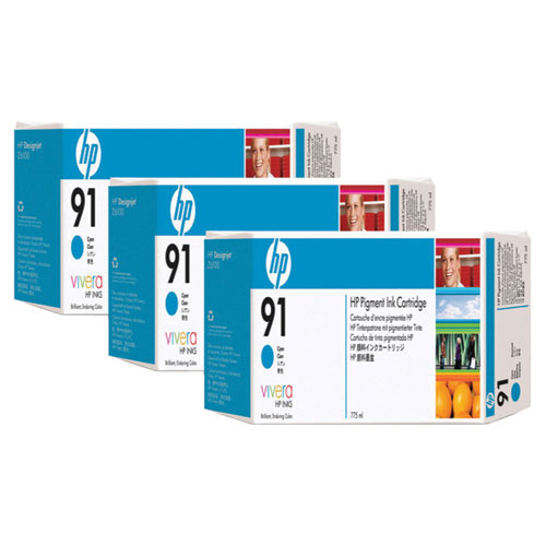 HP 91 Cyan Ink (C9483A) - 3 Pack