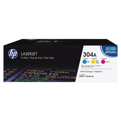 Cartouche de poudre d'encre cyan/magenta/jaune LaserJet 304A de HP (CF340A) - Paquet de 3
