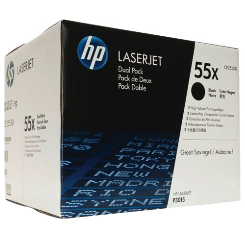 HP 55X Black Toner (CE255XD) - 2 Pack