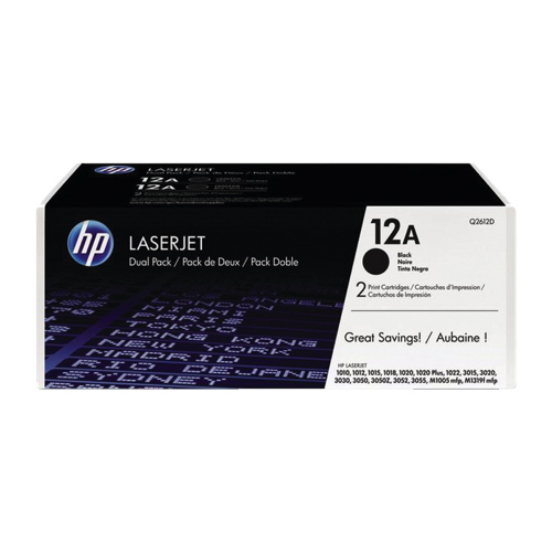 Encre en poudre noire 12A de HP (Q2612D) - Paquet de 2
