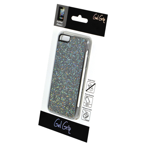Étui rigide Glitter de Gel Grip pour iPhone 5/5s (IP5GGY) - Gris