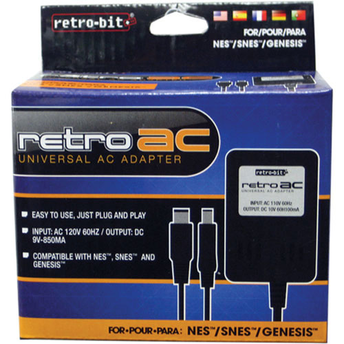 Retro-Bit AC Power Adapter for Nintendo/Super Nintendo/SEGA Genesis