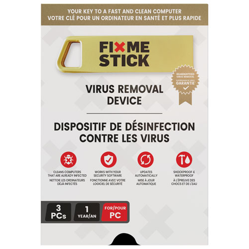 FixMeStick Virus Removal Device (PC) - 3 Devices - 1 Year