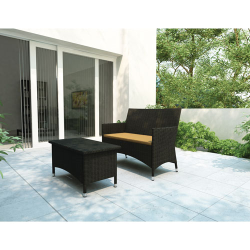 Sonax Cascade Sofa and Coffee Table (S-104-DCP) - Black