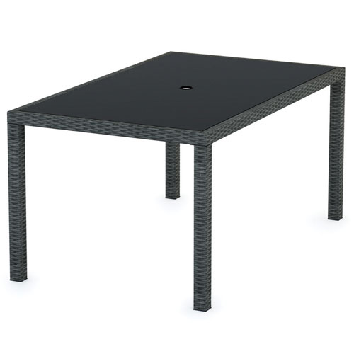 Terrace Contemporary Rectangular Outdoor Dining Table Black - White rectangular outdoor dining table