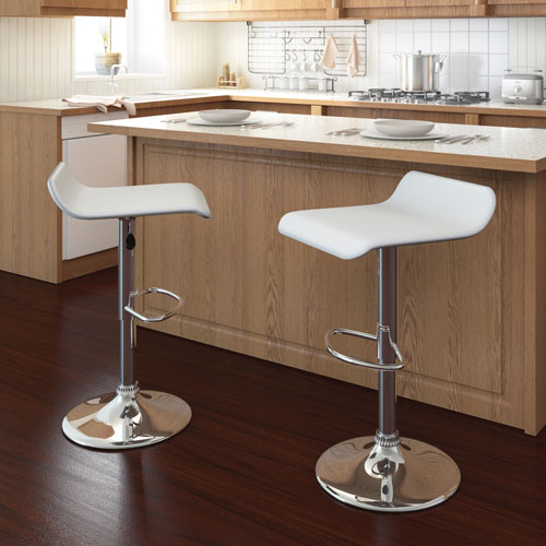 Contemporary Adjustable Height Bar Stool   Set Of 2   White