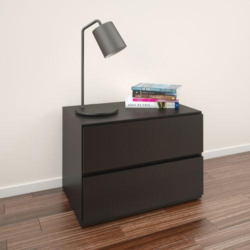 table de chevet contemporaine avenue de nexera noir. Black Bedroom Furniture Sets. Home Design Ideas