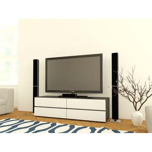 "Nexera Allure TV Stand for TVs Up To 60"" - White/Ebony"