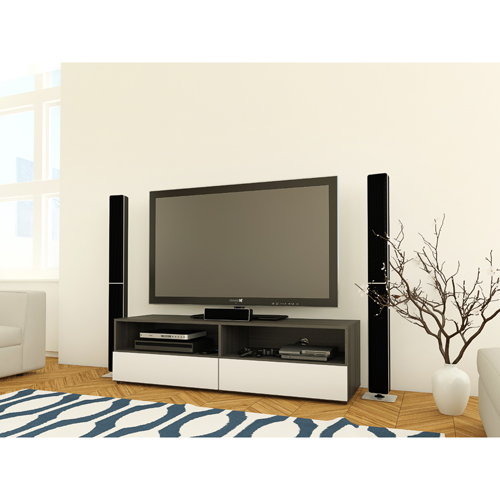 "Nexera Allure TV Stand for TVs Up To 64"" - White/Ebony"