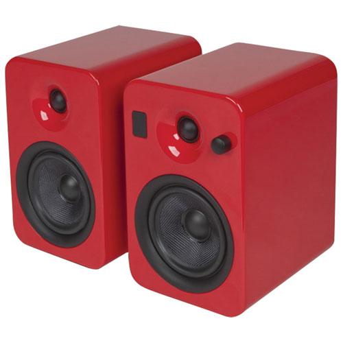 """Kanto YUMI 5"""" 60W Bluetooth Bookshelf Speakers (YUMIREDGL) - Red - Red"""