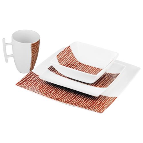 Brilliant Echo 16-Piece Dinner Set (7504.079.16) - White/Brown
