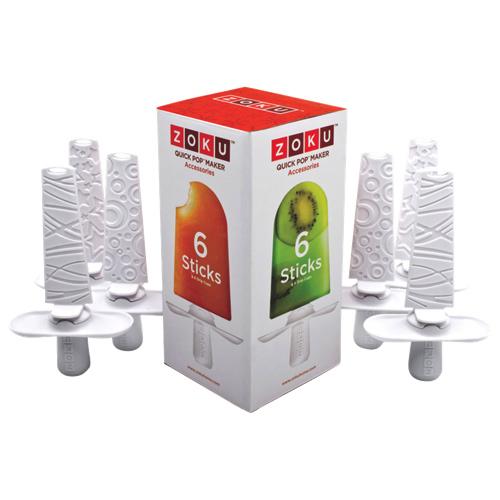 Bâtonnets de plastique réutilisables avec collerette à glace Quick Pop de Zoku (ZK102) - Paquet de 6