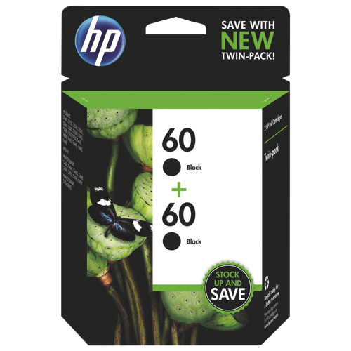 HP 60 Black Ink (CZ071FN) - 2 Pack