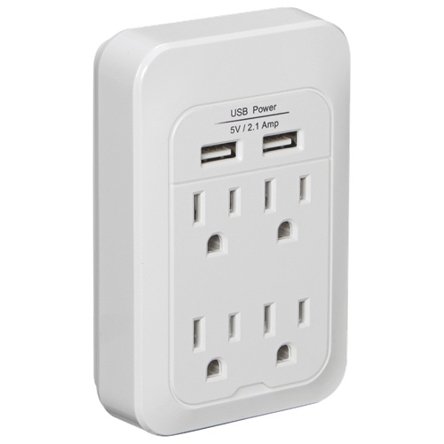 Dynex 4-Outlet 2-USB Power Hub (DX-SF128)