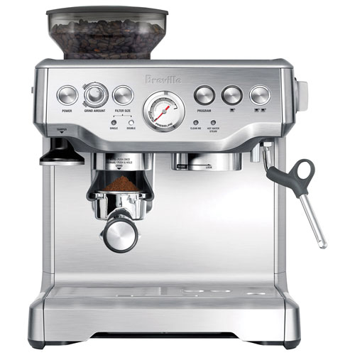 breville barista express pump espresso machine stainless steel espresso machines best buy. Black Bedroom Furniture Sets. Home Design Ideas