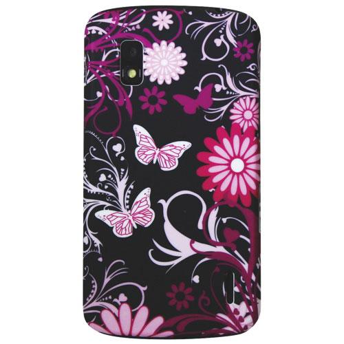 Exian LG Nexus 4 Butterfly Hard Shell Case (NEX4005) - Black/ Pink