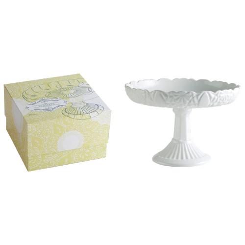 Plat de service sur pied en porcelaine Les Desserts de Rosanna - Blanc