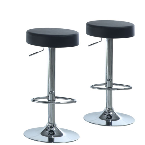 Tabouret de bar contemporain hauteur r glable ensemble de 2 noir tabourets de bar best for Tabouret bar contemporain