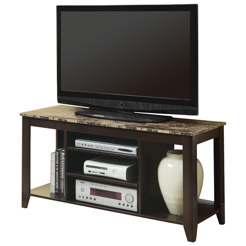 "Monarch Marble-Look TV Stand for TVs Up To 60"" (I 3525) - Cappuccino"