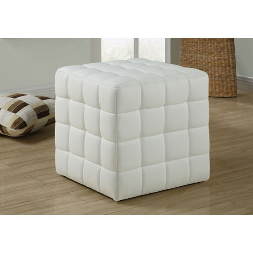 Leather-Look Ottoman - White