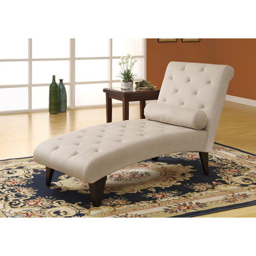 Chaise longue contemporaine en velours capitonné - Taupe